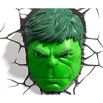 3d Wanddeko Marvel Avengers Hulk Kopf Led Nachtlicht Amazonde