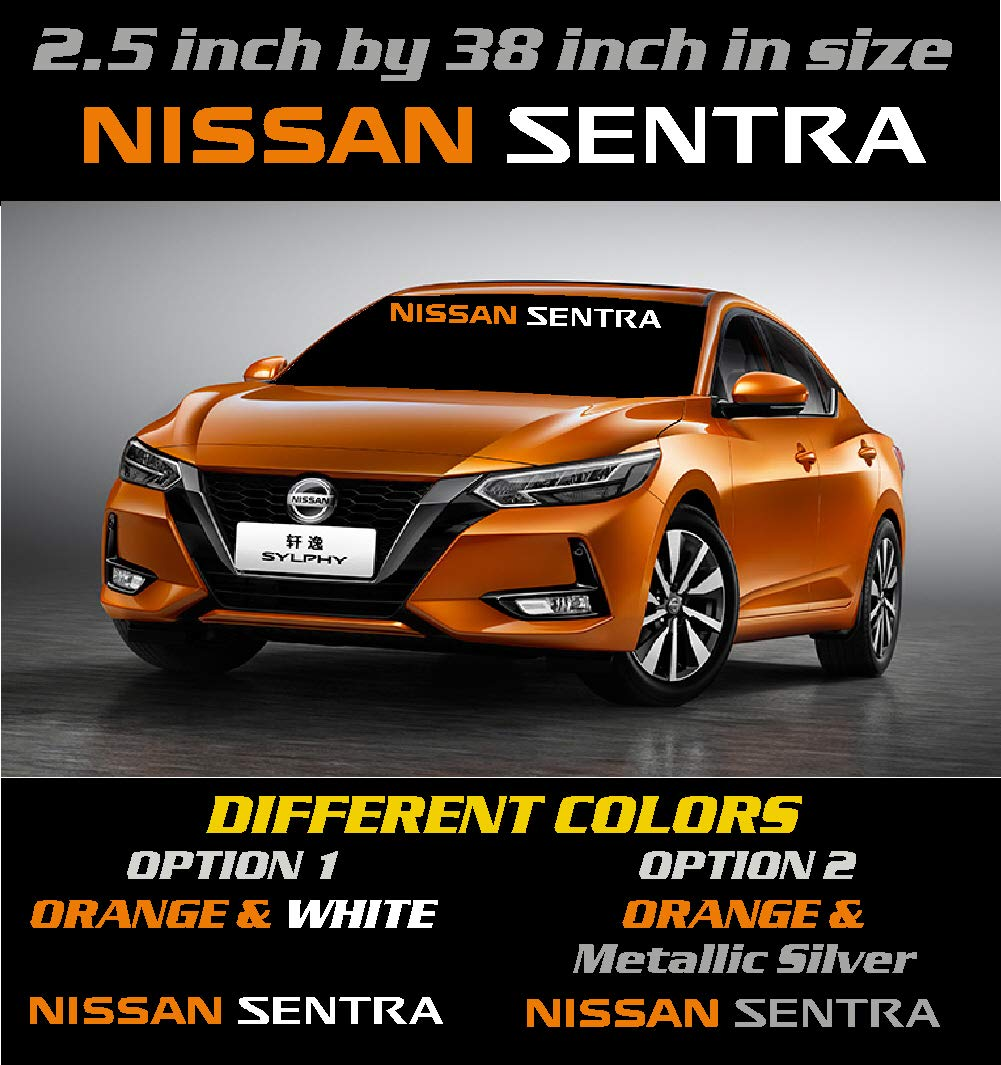 2.5 inch by 38 inch Graphic Window Decal. Different Colors Nissan Sentra Windshield Banner Decal Emblem Sticker 6 to 8 Year Outdoor Life