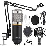 Paquete de micrófono de condensador, micrófono de condensador de estudio cardioide profesional BM-800, utilizado para transmisión en vivo, voz en off, YouTube, juegos, ASMR (color: plateado)