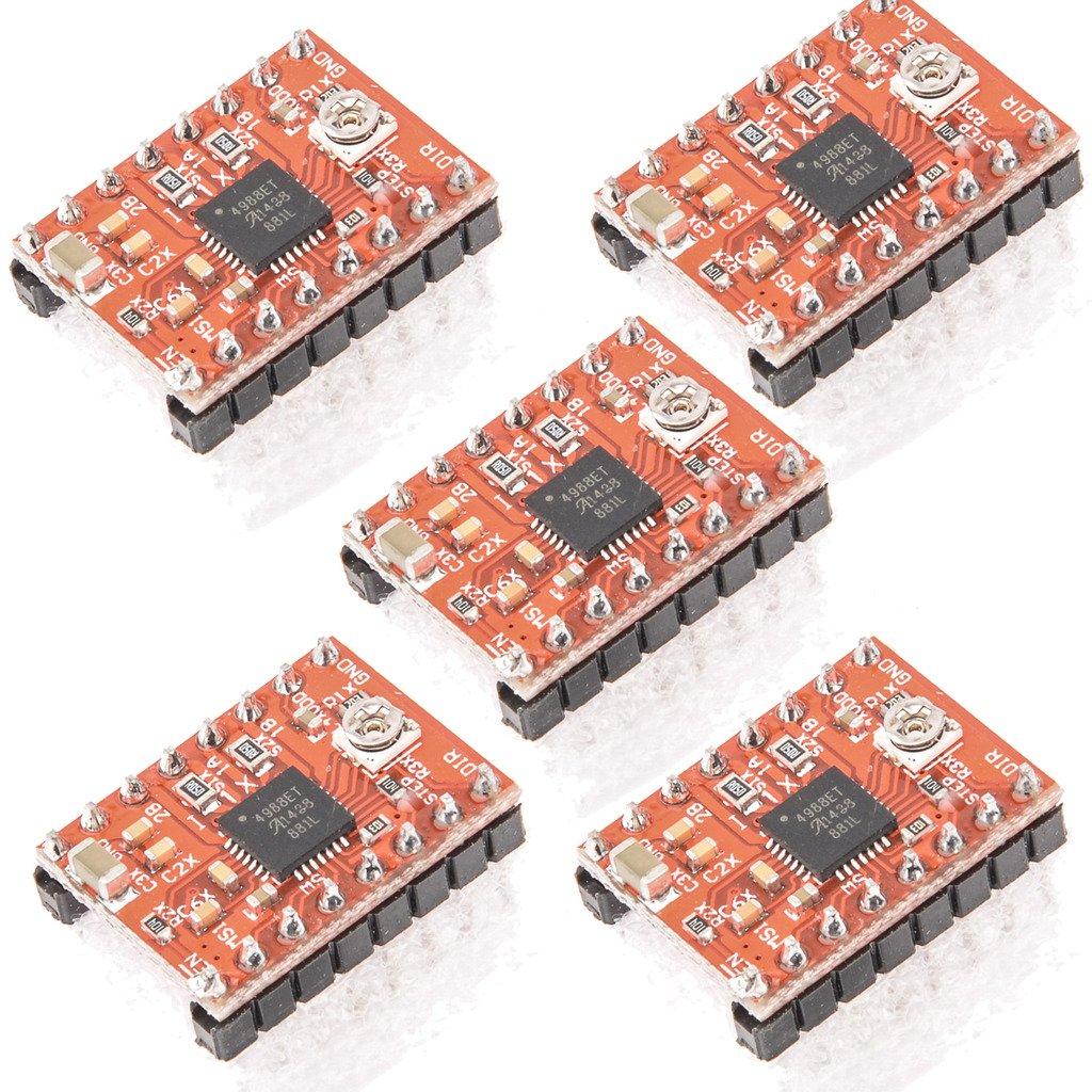 Gaoxing Tech. 5PCS A4988 Stepstick Stepper Motor Driver Module + Heat Sink for 3d Printer Reprap (Pack of 5 Pcs) TS-GX-209