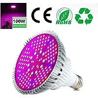 Pawaca 100W LED Pflanzenlampe Vollspektrum Pflanzen Licht Lampe, E27 Grow LED Pflanzenleuchte, Sonnenlicht in Gewächshäusern (150pcs LED)