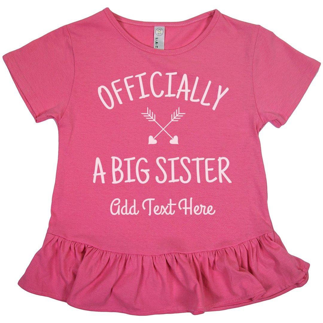 Officially A Big Sister: Girls LAT Ruffle Fine Jersey Tee