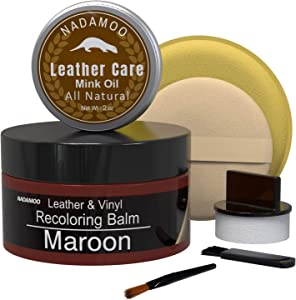 NADAMOO Maroon Leather Recoloring Balm with Mink Oil Leather Conditioner, Leather Repair Kits for Couches, Restoration Cream Scratch Repair Leather Dye for Vinyl Furniture Car Seat, Sofa, Shoes