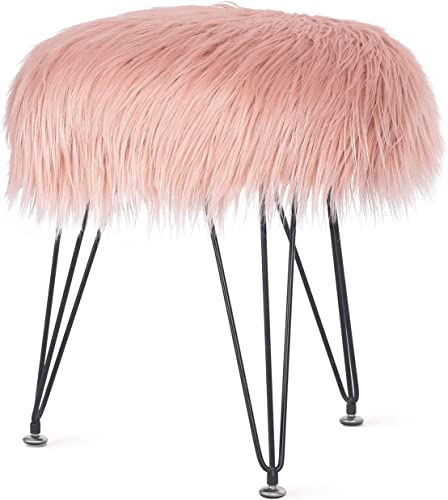 Joveco 16 Faux Fur Stool Ottoman Elegant- Modern Fur Foot Stool- Vanity Stools for Bedroom and Living Room- Fluffy Stool Accent Furniture with Metal Legs Pink