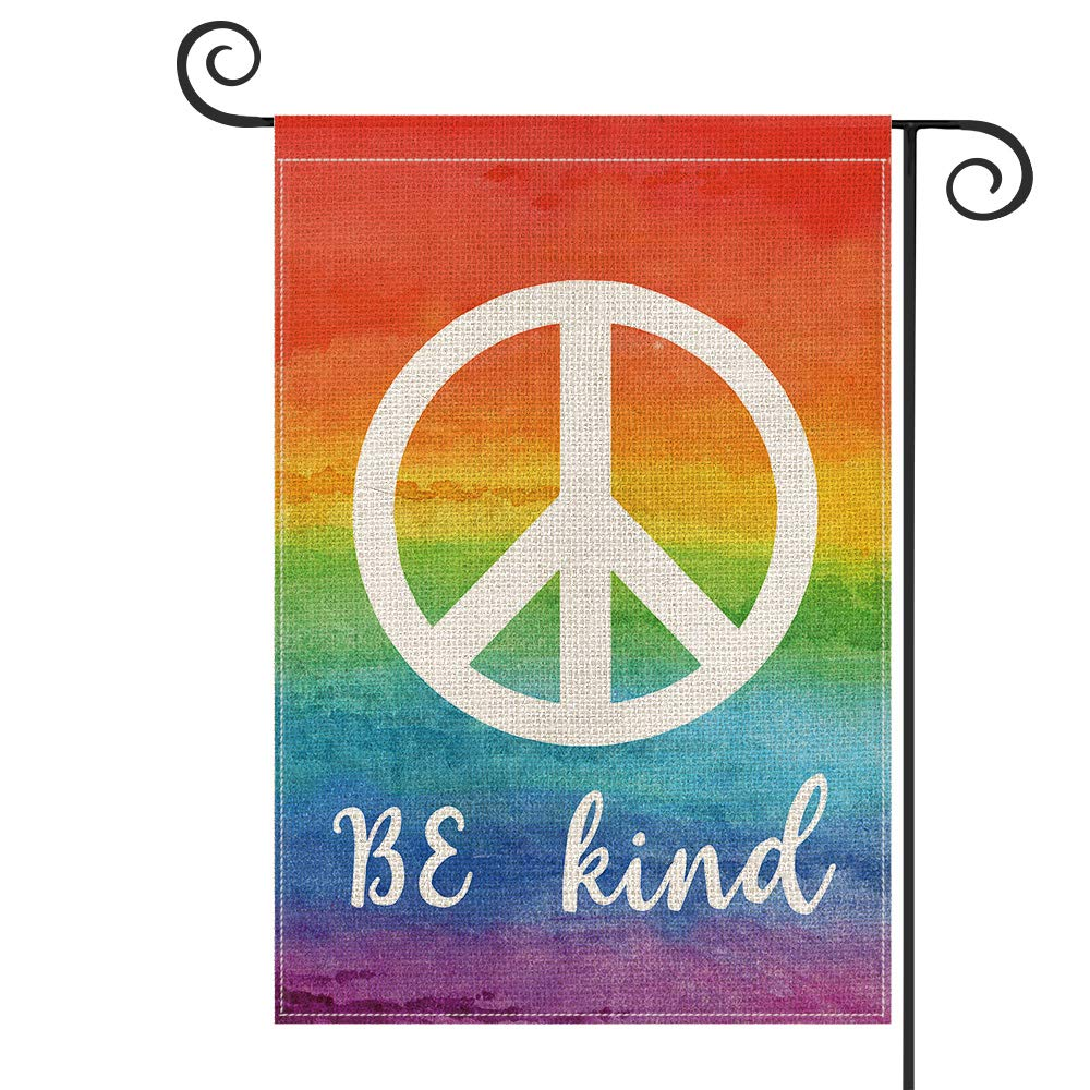AVOIN Be Kind Rainbow Peace Sign LGBT Garden Flag Vertical Double Sized, Holiday Party Yard Outdoor Decoration 12.5 x 18 Inch