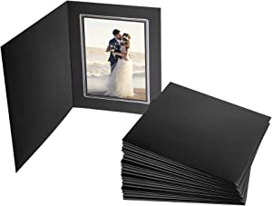 Golden State Art, Acid-Free Cardboard/Paper Photo Folders for Pictures, Great for Portraits, Special Events: Graduation, Wedding (Black with Silver Lining, for 5x7 Photo, 50-Pack)