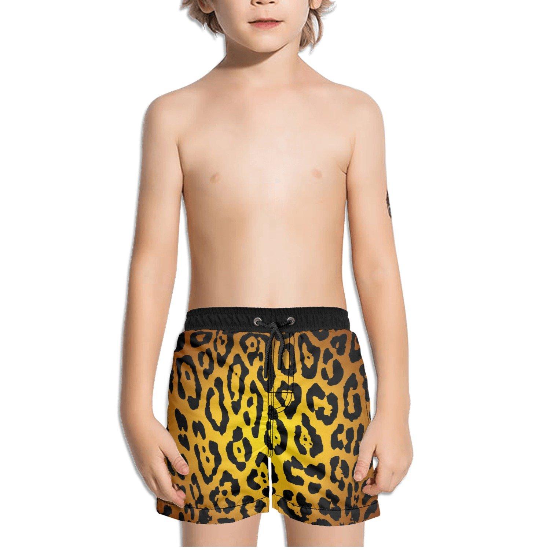 FullBo Leopard Print Patterns Little Boys Short Swim Trunks Quick Dry Beach Shorts