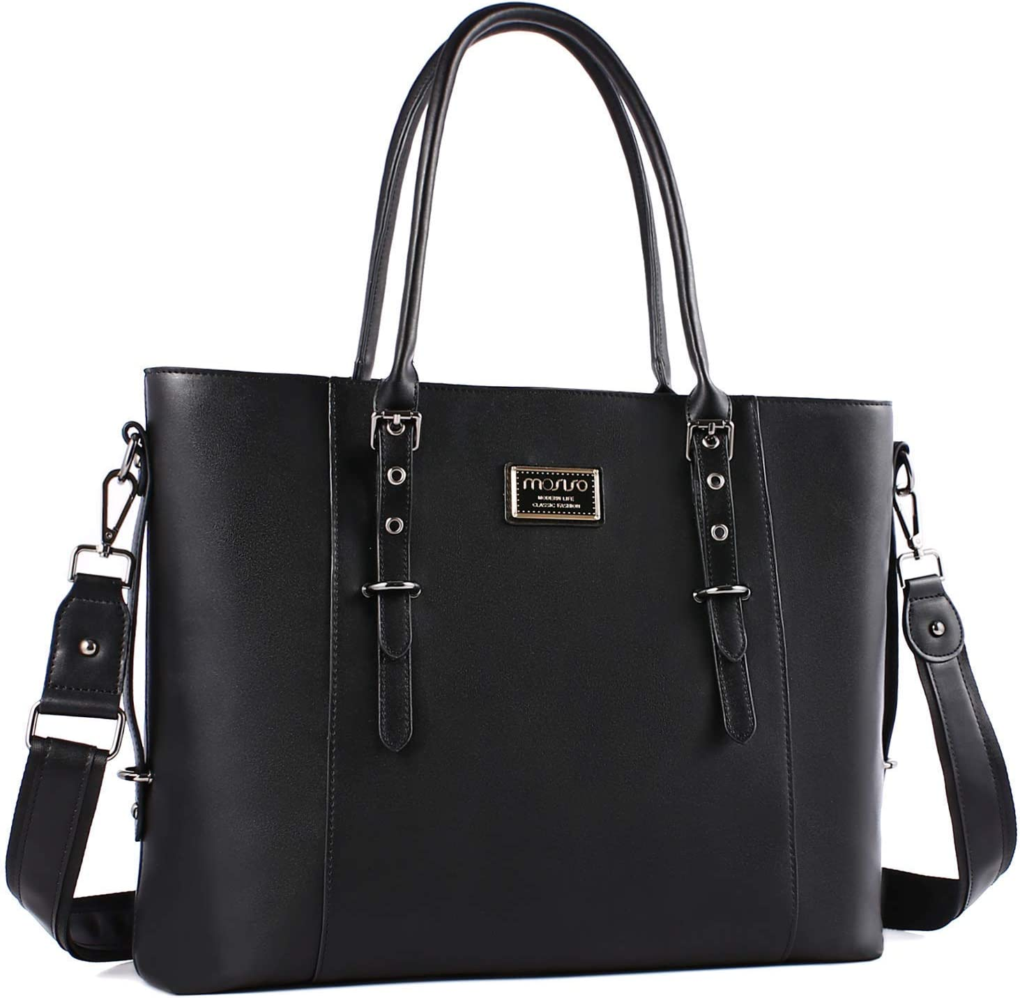 MOSISO PU Leather Laptop Tote Bag for Women Up to 17.3 inch Gray