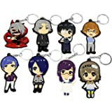 OliaDesign Cosplay Tokyo Ghoul Anime Characters 8 PCS Keychain Key Pendant Accessories