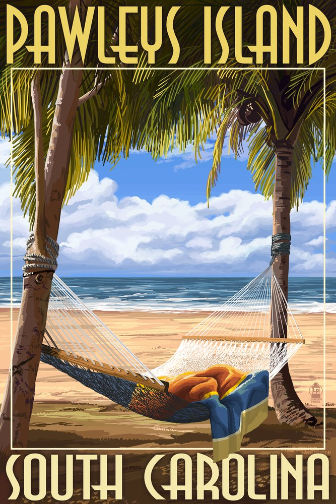 Pawleys Island , South Carolina – Palms and Hammock 36 x 54 Giclee Print LANT-37002-36x54 36 x 54 Giclee Print  B017E9ZQF8