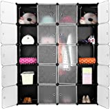 LANGRIA Cube Wardrobe Modular Closet Organizer, DIY 20 Cube Storage Modular Bookcase Closet System Cabinet with Translucent Design for Clothes, Shoes, Toys (Black and White)