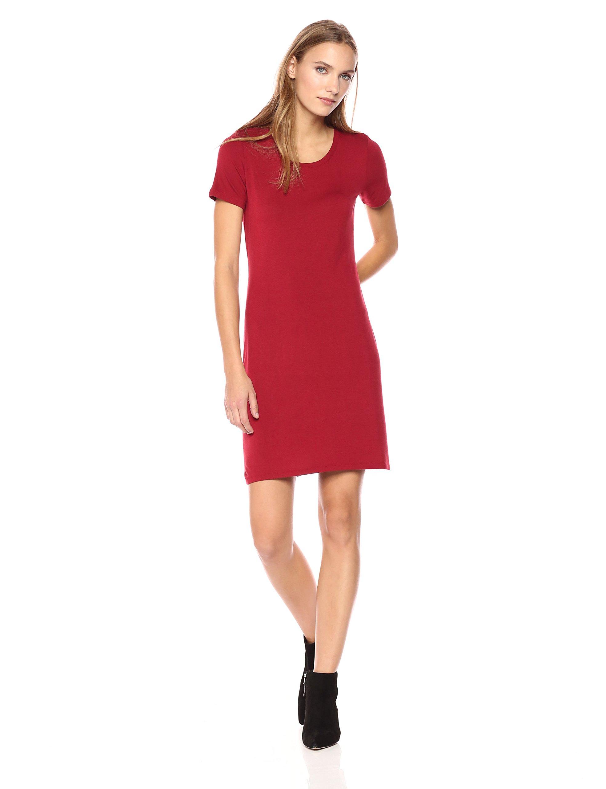 Daily Ritual Women's Jersey Short-Sleeve Scoop Neck T-Shirt Dress, M, Deep Red