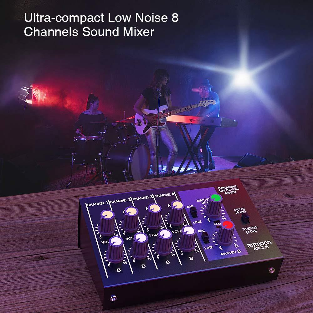 ammoon Mezclador de Sonido Ultra Compacto Ruido Bajo 8 Canales Metal Mono Est/éreo Audio con Cable de Adaptador de Corriente