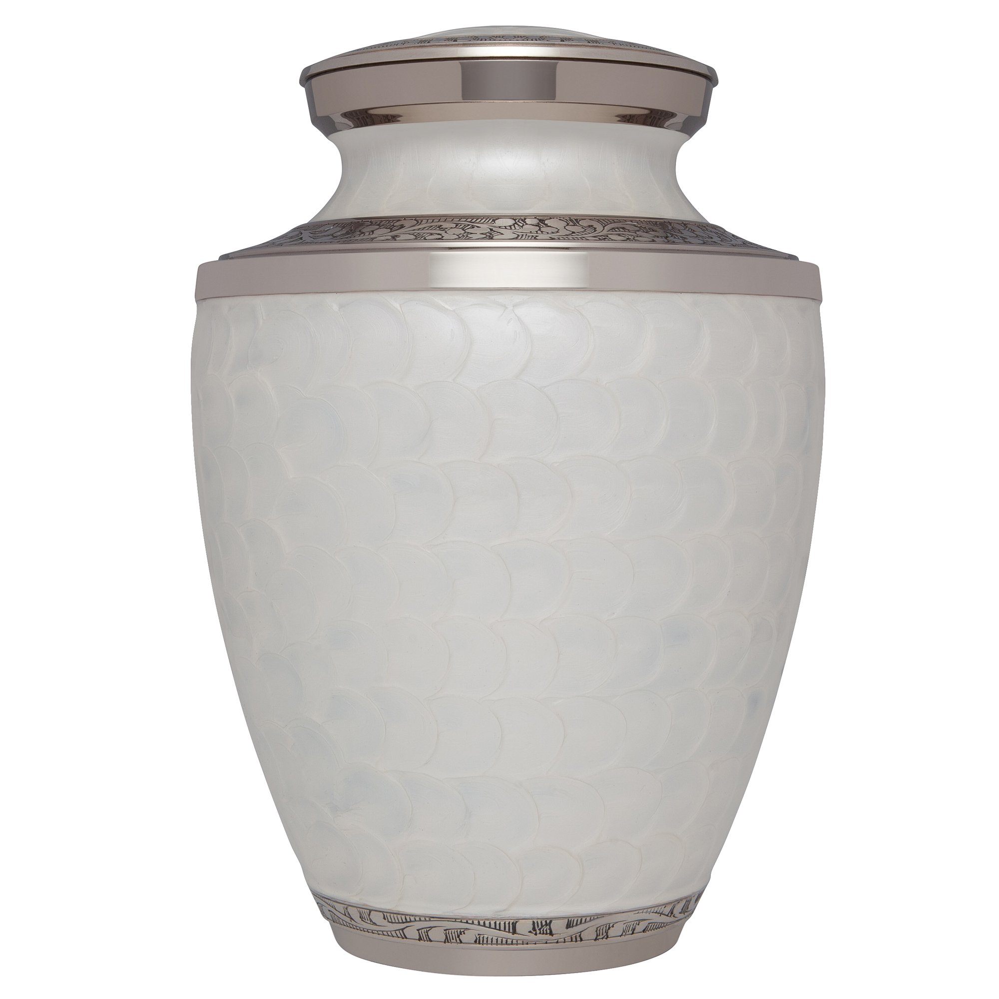 White Funeral Urn by Liliane Memorials - Cremation Urn for Human Ashes - Hand Made in Brass - Suitable for Cemetery Burial or Niche- Large Size fits remains of Adults up to 200 lbs- Petals White Model