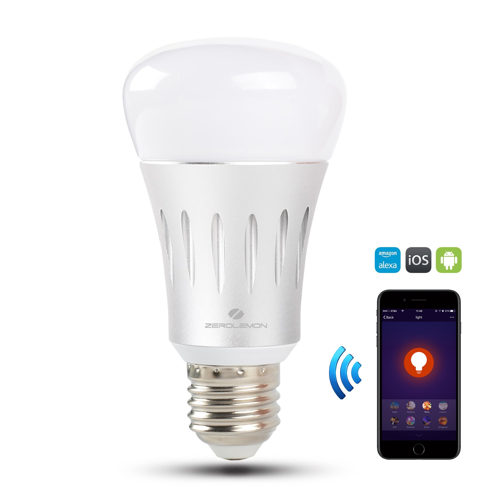 Wifi Smart Led Light Bulb, ZeroLemon Multi Color Smart Bulb Compatible with Alexa and Google Assistant, Home Dimmable Light, Color Changing Light For Party and Decorative Ambient Light Bulb - Silver