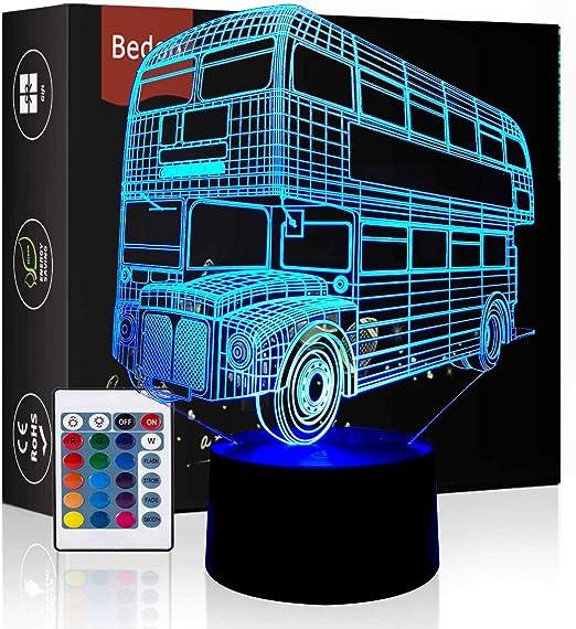 HeXie Cadeau De Noël Magic Bus Lampe Illusion 3D 16 Couleurs Tactile Interrupteur USB Insérer LED Lumière Cadeau D'anniversaire et Décoration De Fête