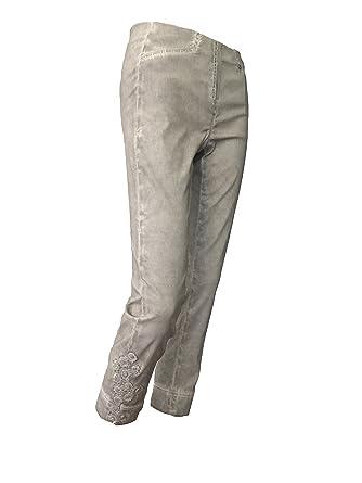 Rose 09 Robell 7/8 Stretchhose Used Look mit Spitzenbesatz, Farbe:Grau,