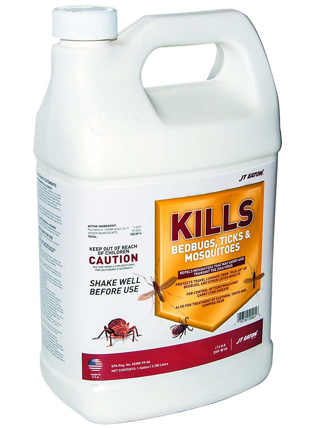 J T Eaton 209-W1G Kills Bedbugs, Ticks and Mosquitoes Water Based Spray with Sprayer Attachment, 1-Gallon