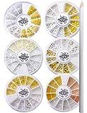 Nail Recipe(ネイルレシピ) ネイルアート ネイルパーツ スタッズ デコパーツ メタルパーツ 6ケースセット ジェルネイル UVレジン(メタルパーツNew1)