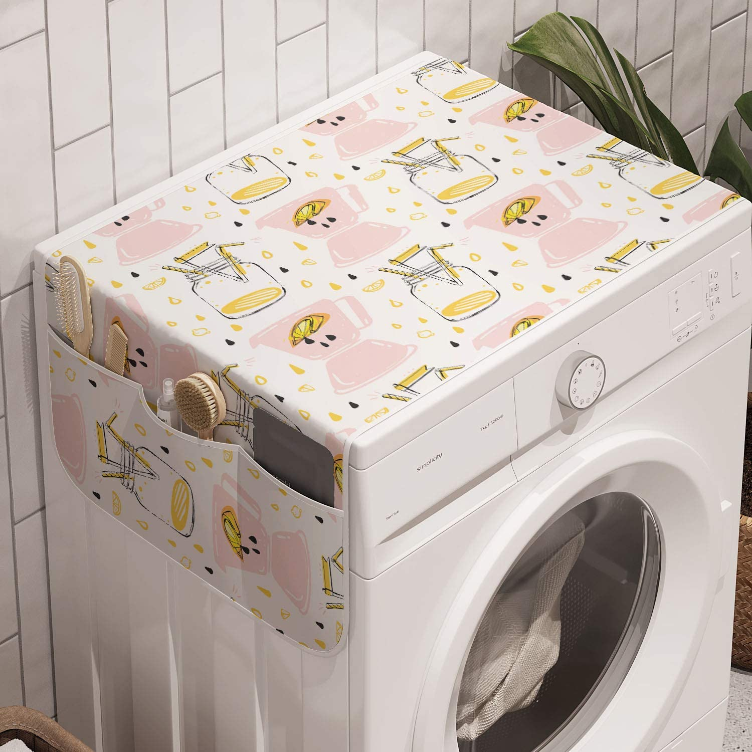 Ambesonne Summer Washing Machine Organizer, Abstract Hand Drawn Lemonade Glass Jar Lemon Slices Juice Drops and Blenders Pattern, Anti-slip Fabric Cover for Washers and Dryers, 47