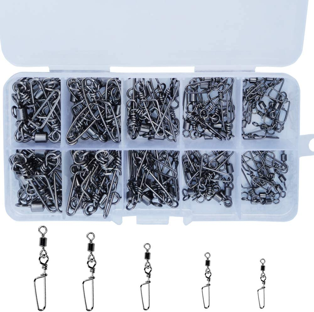 Drasry 100PCS Rolling Fishing Swivels Set High Strength Black Nickel Connector Three Way Swivels and Snap Connectors Kit for Saltwater Freshwater, 5 Size