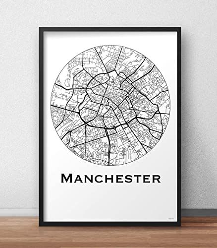 Plakat Manchester England Minimalist Map - Poster, City Map ...