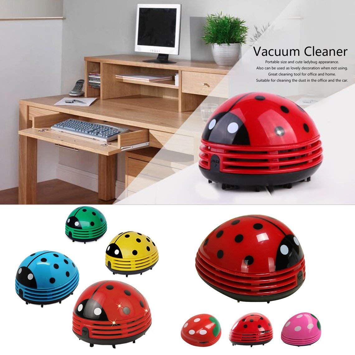 Momorain Mini tama/ño encantador lindo dibujos animados forma de mariquita aspiradora de escritorio teclado de oficina en casa colector de polvo limpiador