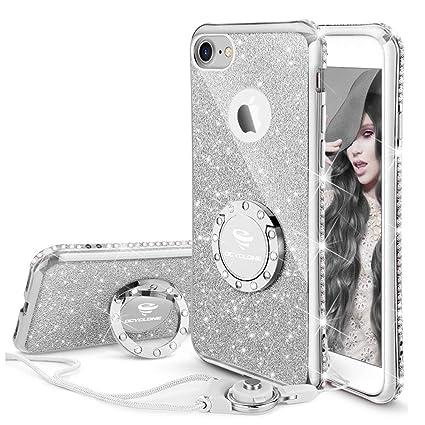 Ocyclone Case I Phone 8/ I Phone 7, Cute Girls Glitter Bling Diamond Rhinestone Bumper Ring Kickstand Sparkly Protective Phone Case I Phone 8/7 Women Girl   Silver by Ocyclone