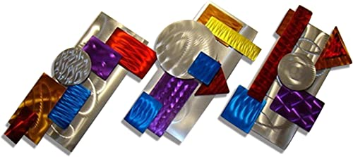 Statements2000 Colorful Red, Blue, Purple, Silver, Yellow Multi-Dimensional Wall Sculpture – Home Decor Wall Accent Metal Wall Art – 3 Piece Color by Jon Allen