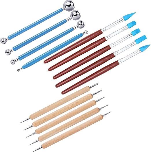 22 piezas kit de herramientas de cer/ámica escultura de madera Excelente para trabajar con arcilla,manualidades Set de herramientas para escultura de cer/ámica de arcilla Queta