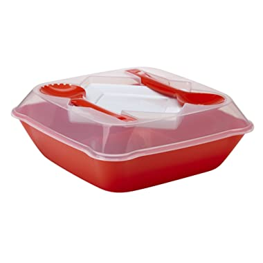 Mozaik Premium Plastic 128 oz. All-in-One Serving Bowl Set with Lid, Serving Utensils and Plates, Fiesta Red