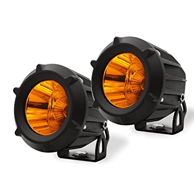 AutoTime 2 Pack 25W LED Work Light Flood Spot Combo Beam 3000K Yellow Amber Led Pods Light Small Offroad Driving Fog Light for Motorcycle Jeep SUV Truck Wrangler Boat Tractor: Automotive