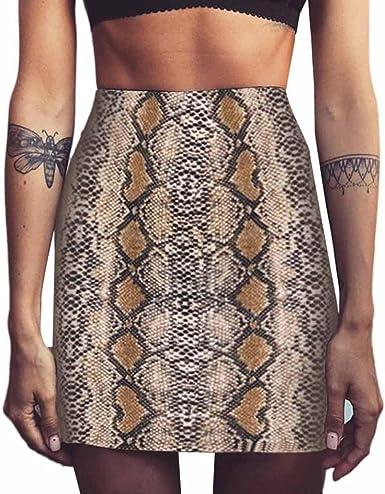 LHWY Falda Bodycon Sexy Moda Falda con Estampado Serpiente Cintura ...