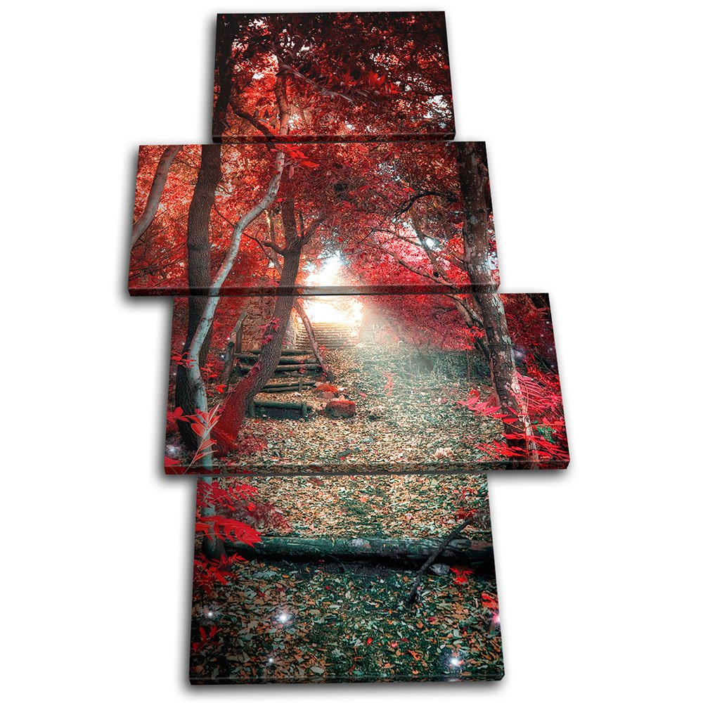 Bold Bloc Design - Mystical Forest Trees Landscapes 80x45cm MULTI Canvas Art Print Box Framed Picture Wall Hanging - Hand Made In The UK - Framed And Ready To Hang 13-1840(00B)-MP04-PO-A