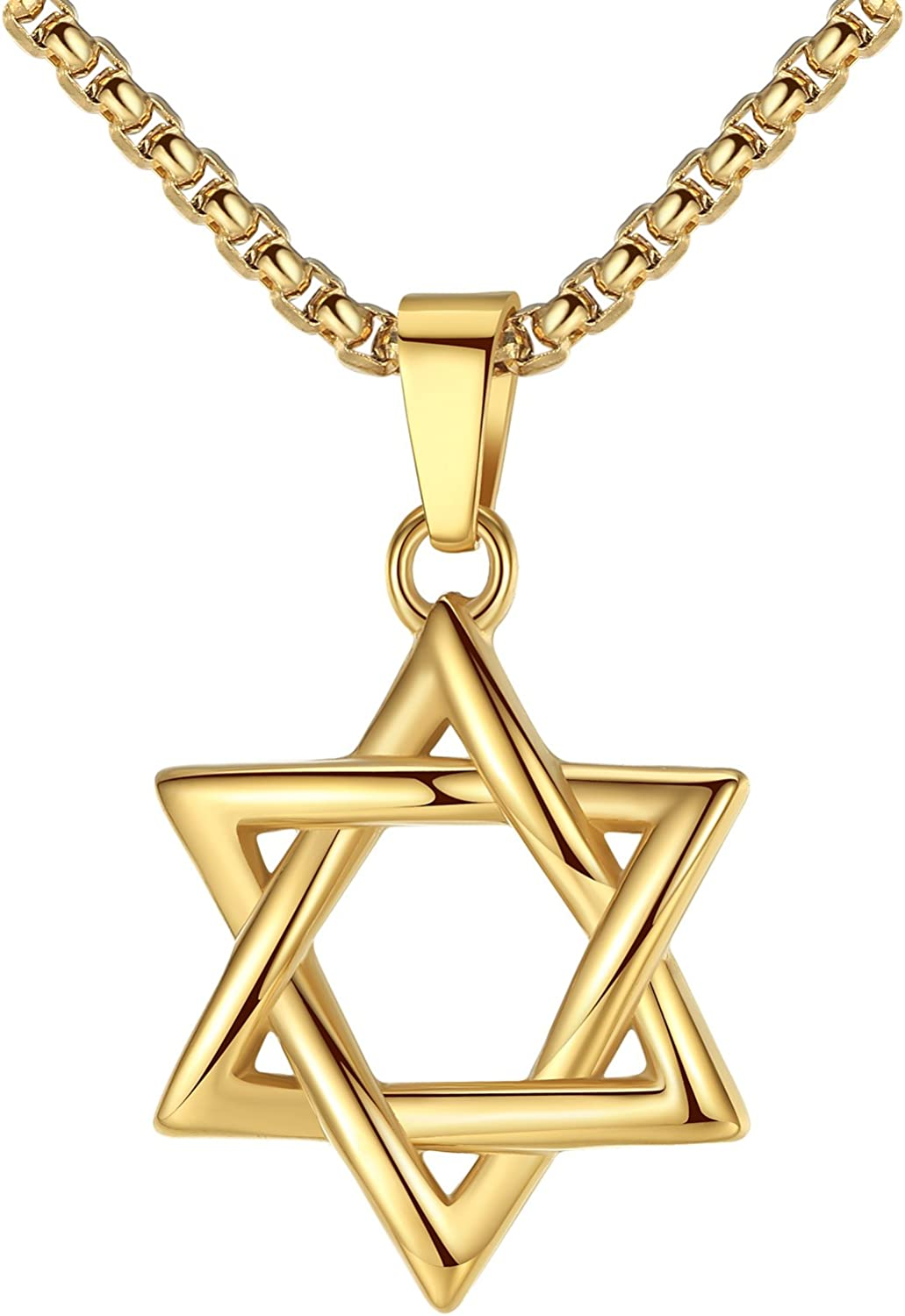 LineAve Stainless Steel Jewish Star of David Pendant Necklace, Unisex, 8h0047
