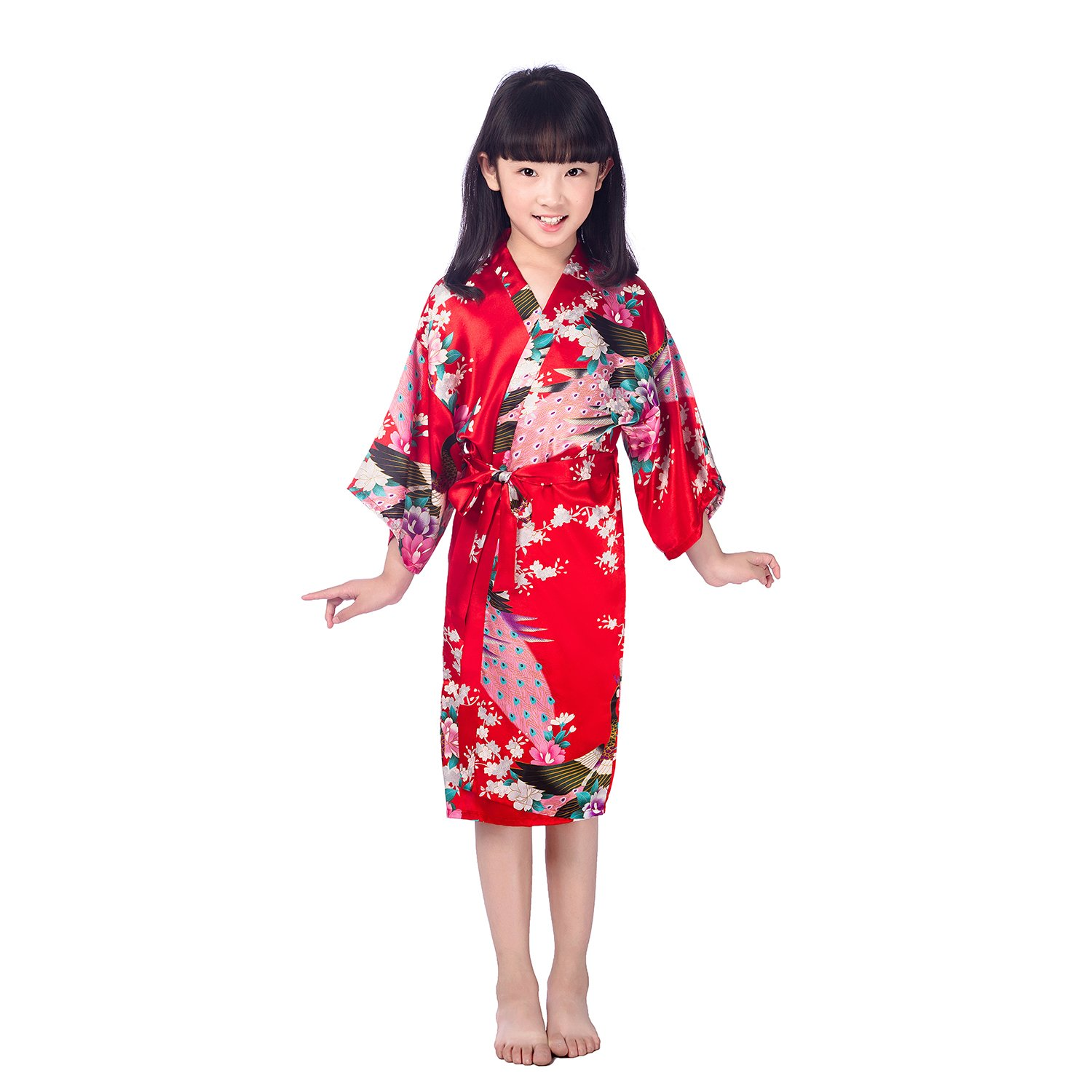 Kids Girls Long Foloral Kimono Silky Satin Bath Robe FREE FISHER