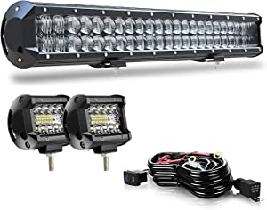 AUSI Led Light bar DOT Approved 20Inch 126W Dual Row 5D Spot Flood Combo Light Bar + 2pcs 4Inch Off Road Lights Driving Lights Led Fog Light for Truck SUV Polaris Ranger 4x4 Boat