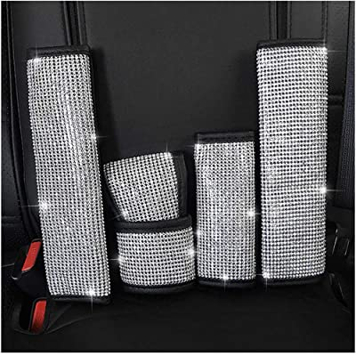 U&M Bling Bling Auto Seat Belt Cover & Handbrake Cover & Shift Gear Knob Cushion Luster Crystal Diamond Car Decor Accessories (4 pcs in 1 Set): Automotive