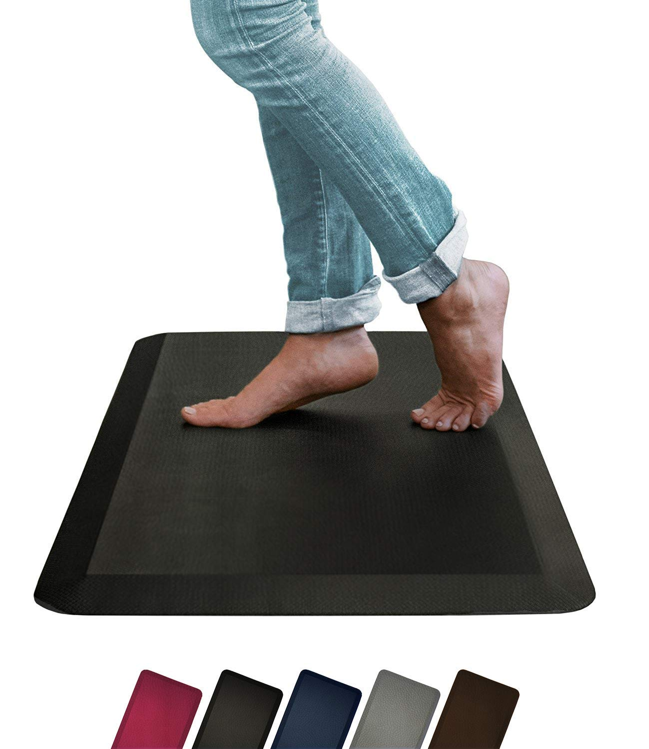 Oasis by Sky Mats, Leather Grain Comfort Anti Fatigue Mat & Kitchen Rug, 5 Colors and 3 Sizes, Perfect for Kitchens and Standing Desks (20x32x3/4-Inch, Black)