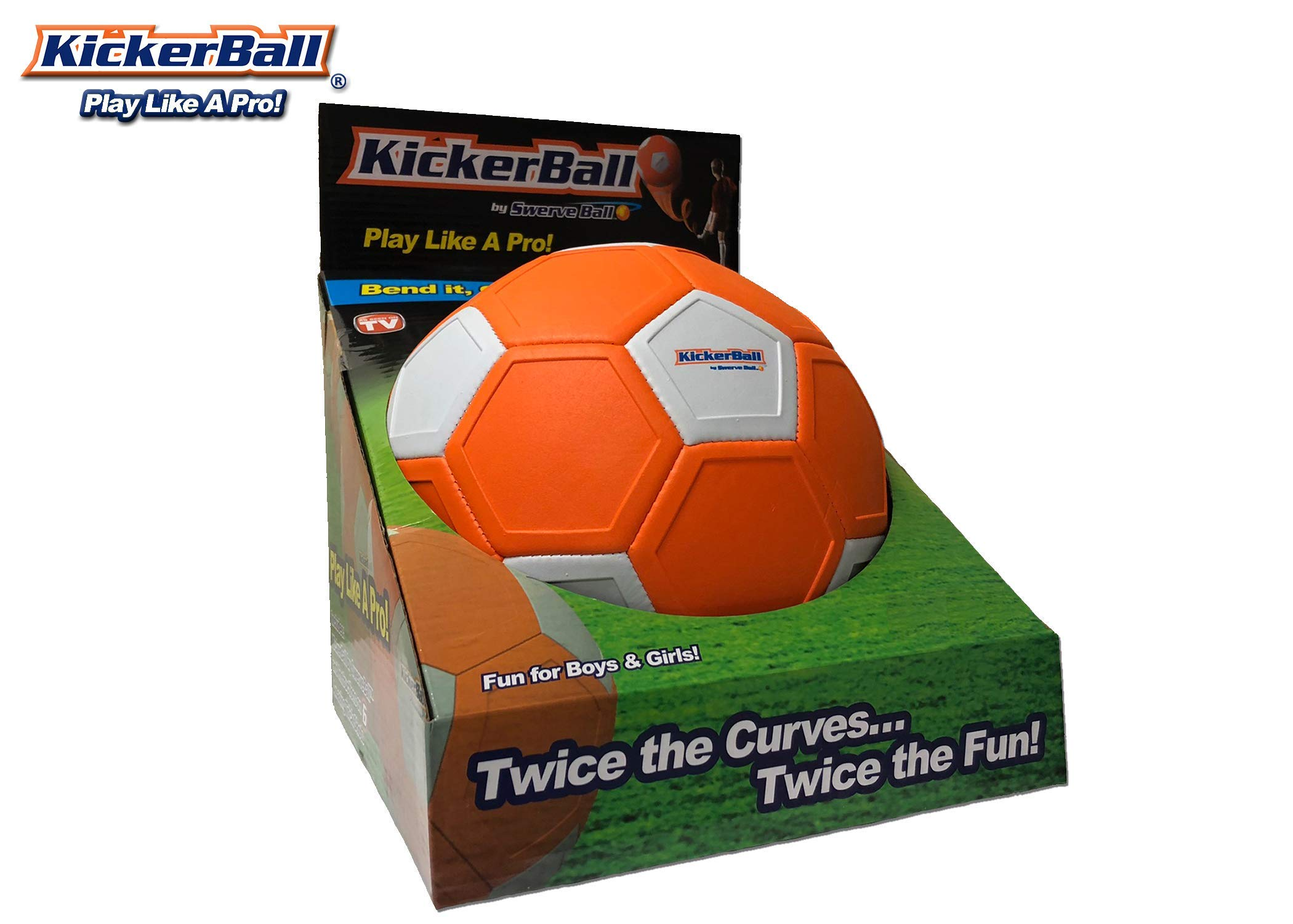 Kickerball - Curve and Swerve Soccer Ball/Football Toy - Kick Like The Pros, Great Gift for Boys and Girls - Perfect for Outdoor & Indoor Match or Game, Bring The World Cup to Your Backyard by Kickerball