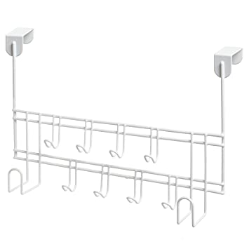 Modern White 10 Hook Metal Wire Over The Door Hanging Storage Organizer  Utility Coat Rack