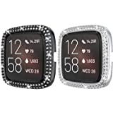 2 Pack PC Diamond Case Protector for Fitbit Versa 2, Haojavo Shining Diamond Case Protective Cover Bumper Shell for…