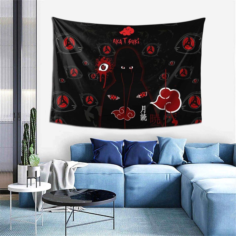 Tapestry Wall Hanging, Na-ru-to I-ta-chi U-chi-ha A-kat-su-ki Sharingan Red Cloud Wall Modern Art Hand Made Home Decorations Fade-resistant Blanket Backdrop for Bedroom Living Room, 60x40 inch