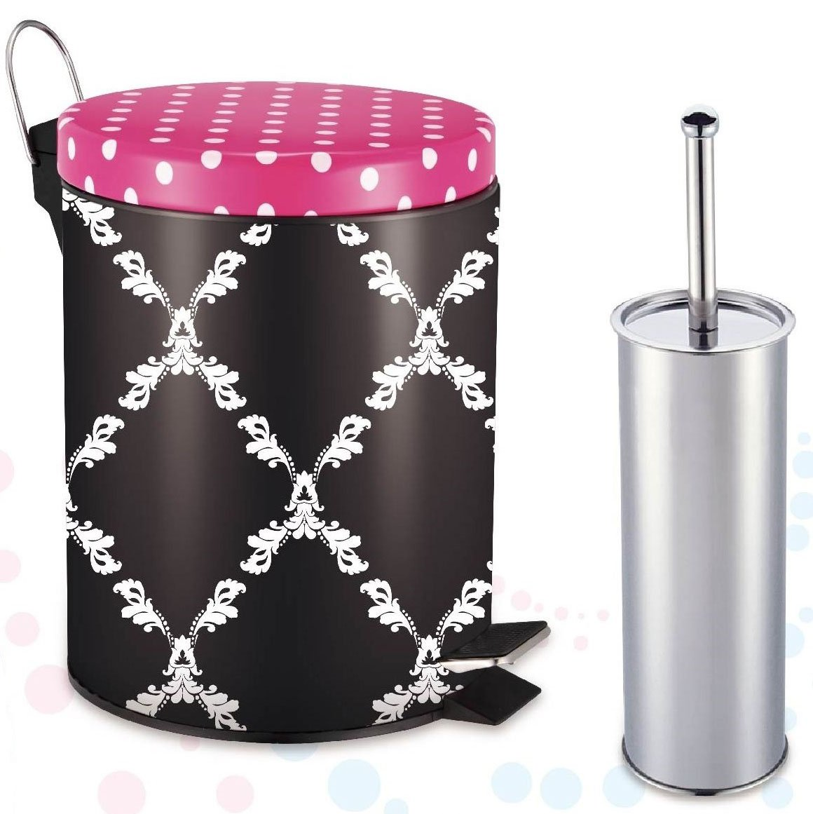 2 pc Step On Graphic Design Pattern Printed Round Metal Trash Bin Can (5L) with Toilet Brush (Mystic Trellis)