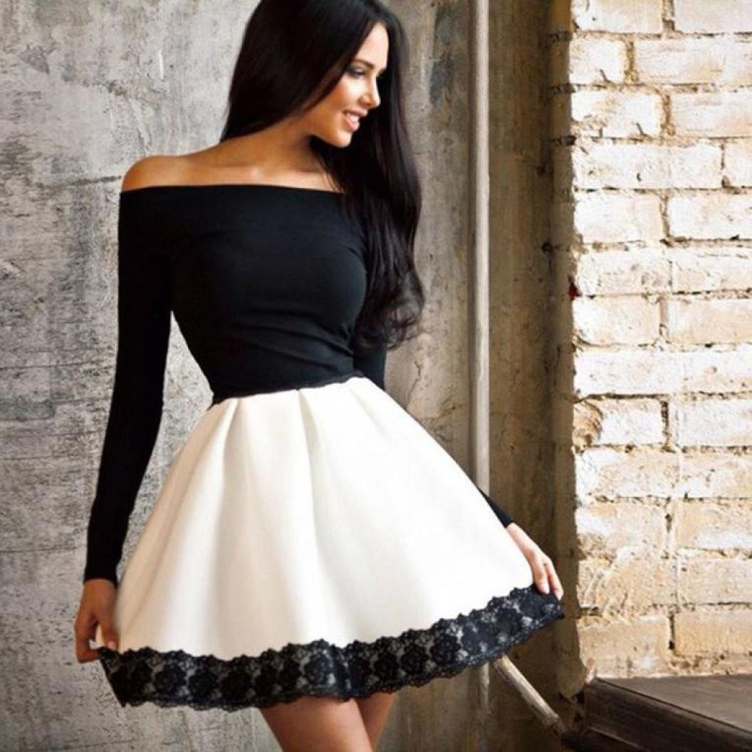 790b16e91f23d AmyDong Off Shoulder Skirt Women Casual Long Sleeve Evening Party Short  Dress Stitch Splicing Lace Slim Dress at Amazon Women s Clothing store