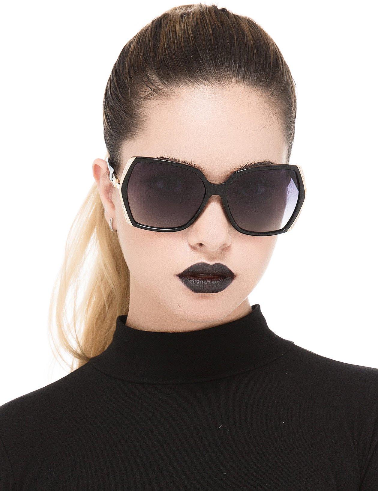Oversized Polarized Sunglasses for Women Polarized Vintage Luxury Eyewear (Black/Grey)