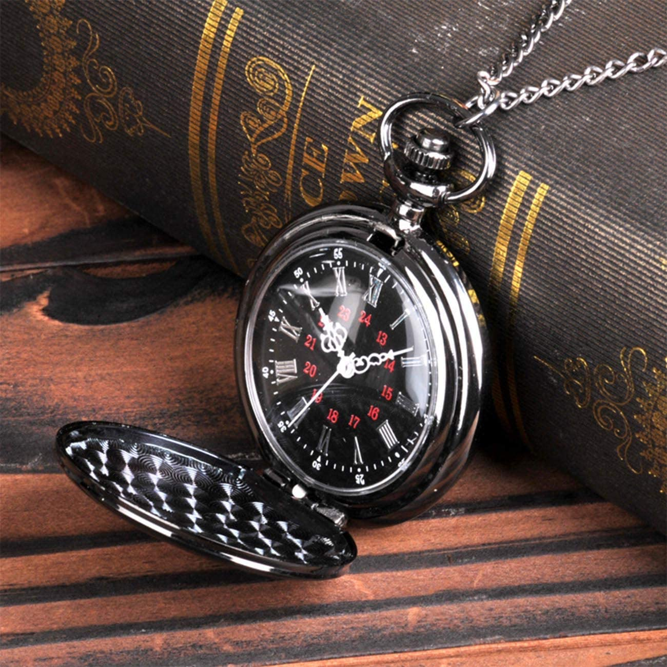 Taschenuhr Schwarz / Rot