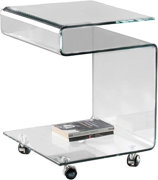 Mesa Auxiliar de cristal transparente : Colección GLASS: Amazon.es ...