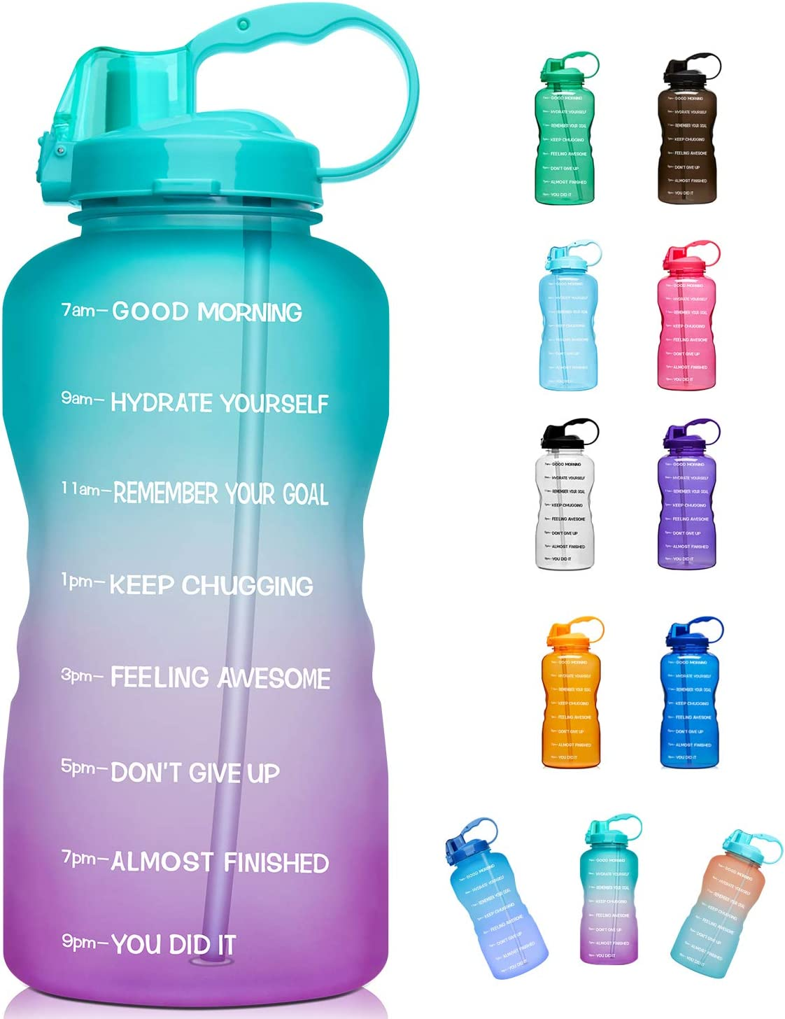 128oz// 1 Gallon Sports Leakproof Motivational Time Marker Water Bottle BPA Free