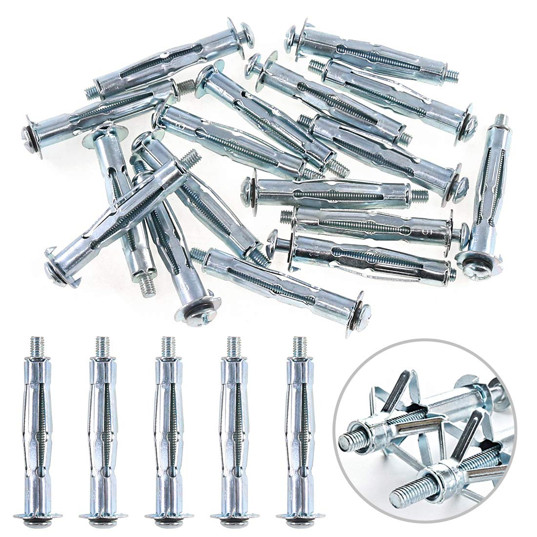 Glarks 30Pcs 5x52MM Heavy Duty Zinc Plated Steel Molly Bolt Hollow Drive Wall Anchor Screws Set for Drywall, Plaster and Tile (M5x52)